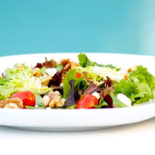 Crunchy Green Salad with Basil Vinaigrette Dressing