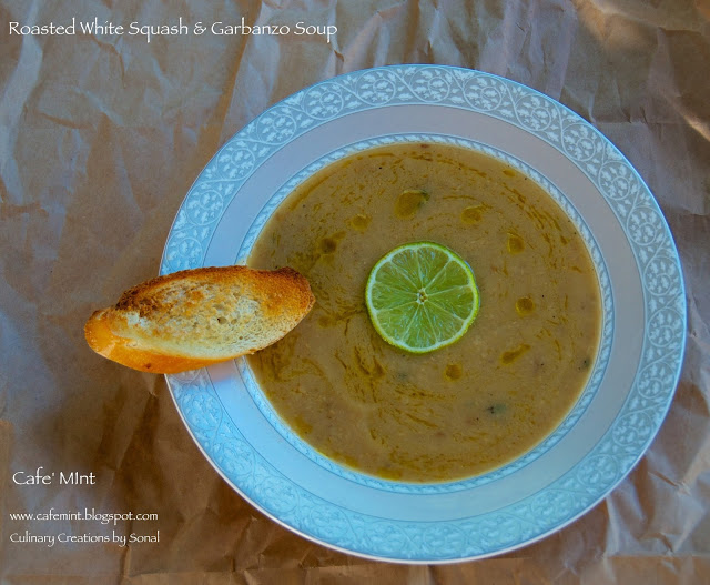 Roasted White Squash & Garbanzo Soup