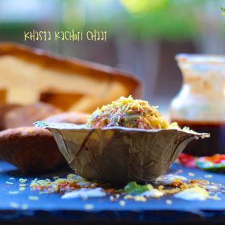 A close-up on Khasta Kachori Chaat in a leaf bowl