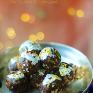 A side shot of dates walnuts coffee laddu with bokeh in the background