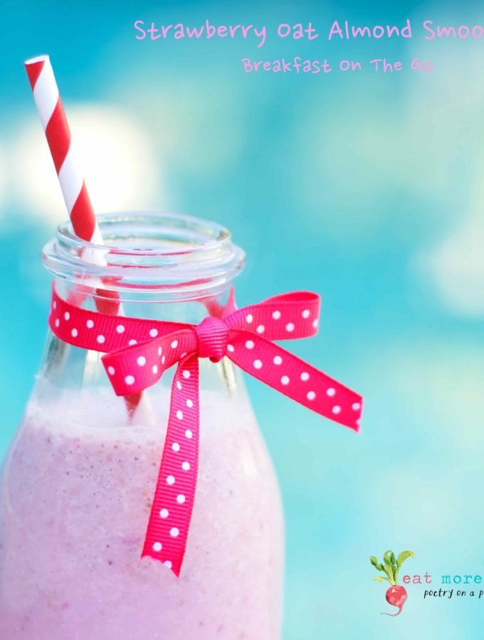 A side shot of the Strawberry Oats Almond Smoothie in a bottle