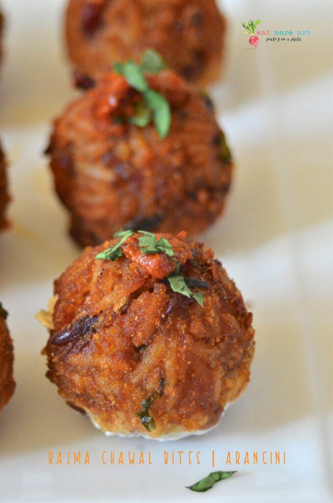A close up shot of Rajma Chawal ball / arancini