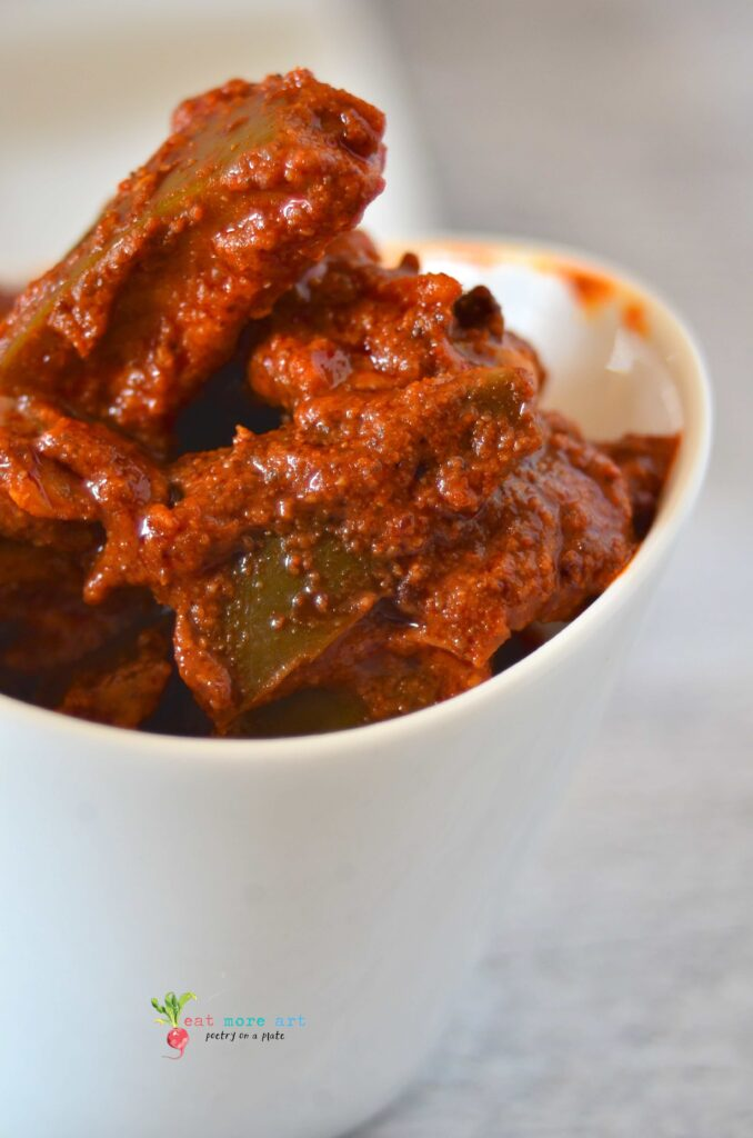 A close up shot of Indian pickle