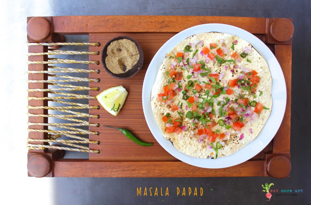 An overhead shot of Masala Papad