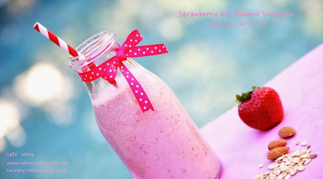 Strawberry Oat Almond Breakfast Smoothie