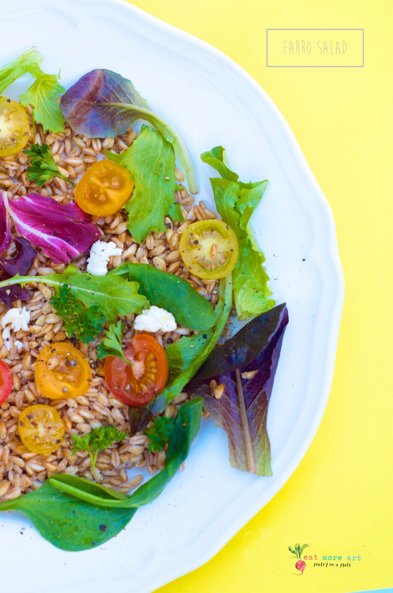 A plate of colorful farro salad