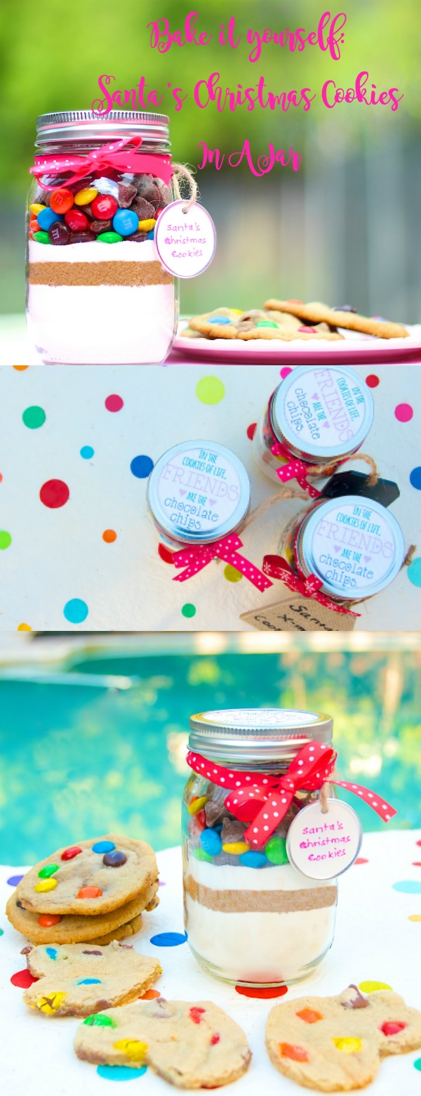bake it yourself santa's christmas cookies in a jar - pinterest pin