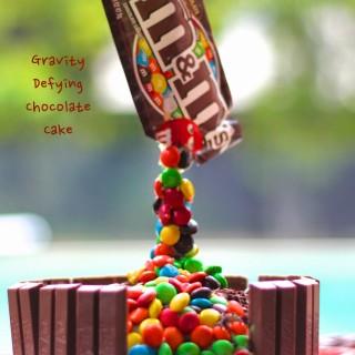 Gravity Defying Chocolate Cake (Eggless)