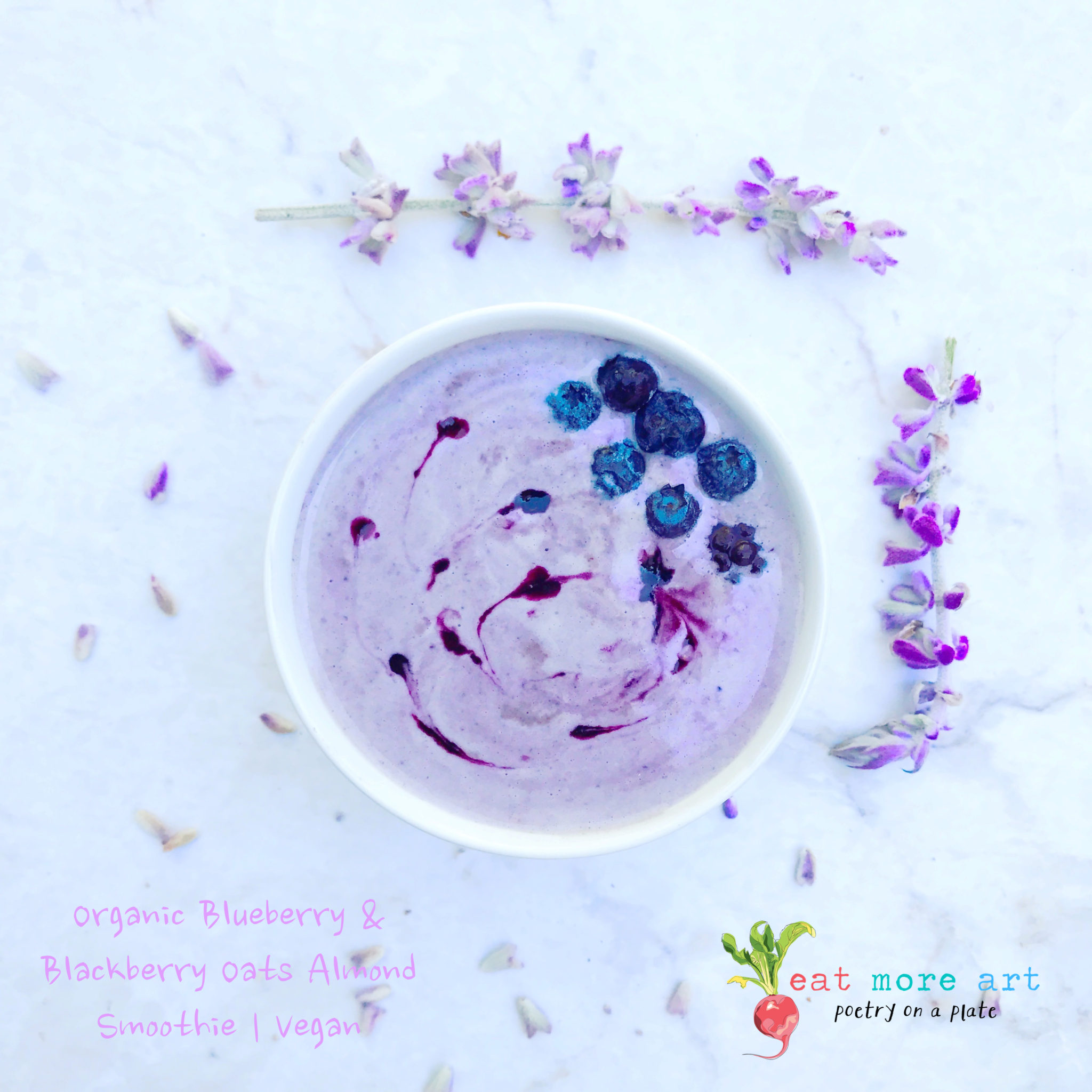 Organic Blueberry & Blackberry, Oats and Almond Smoothie | Vegan | Eat More Art