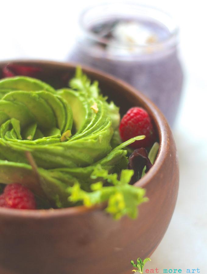 """Tis the Season' Salad | Avocado, Greens & Raspberries"
