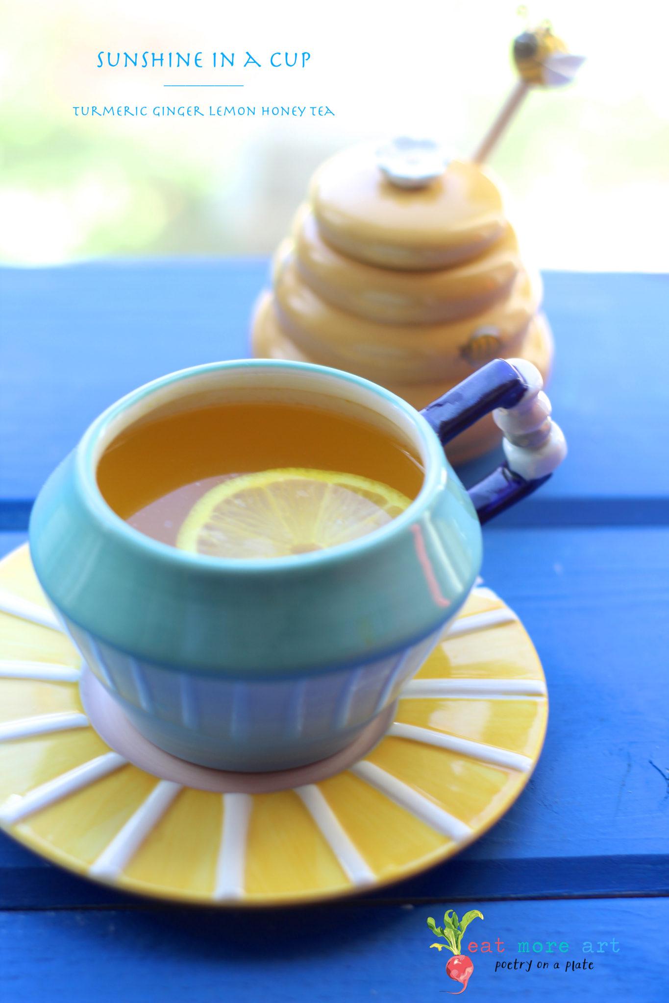 Sunshine in a Cup   Turmeric Ginger Lemon Honey Tea