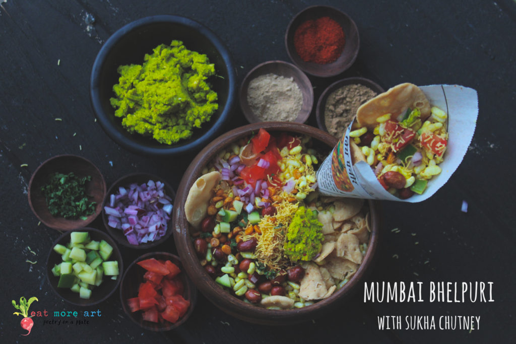 Mumbai Bhelpuri with Sukha Chutney   Street food of Mumbai   Eat More Art