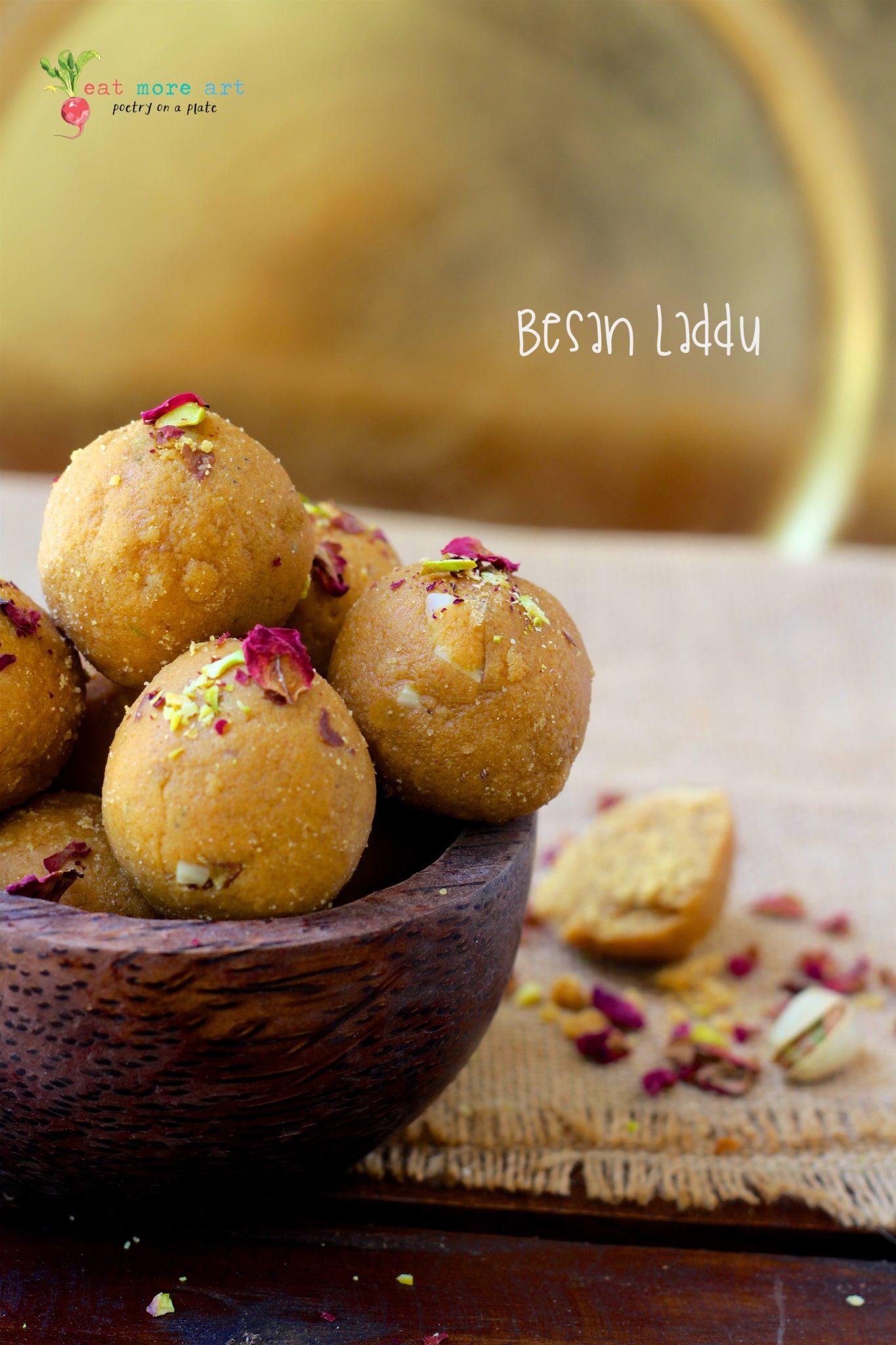 deconstructed besan laddu eat more art