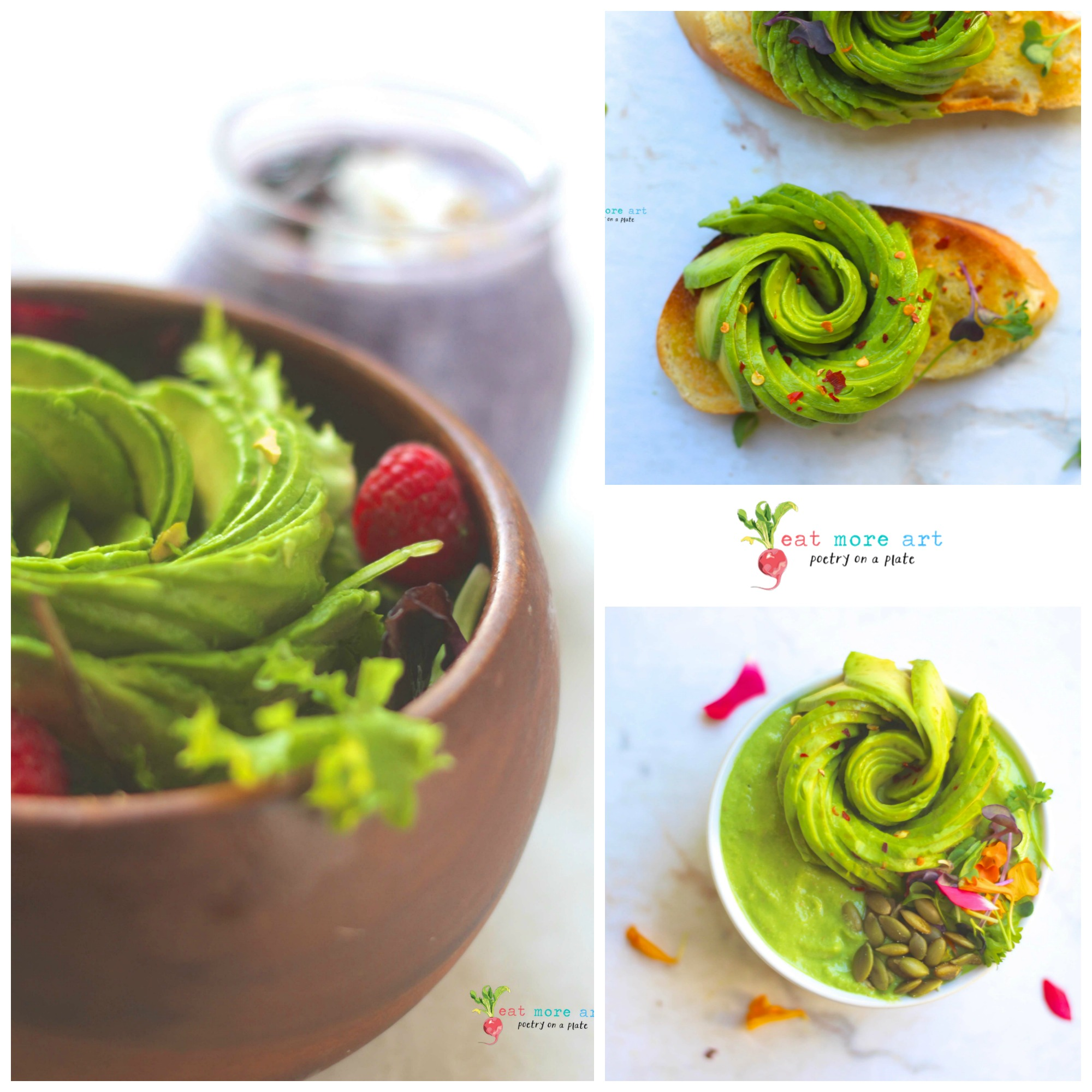 Collage of pictures with avocado rose topped on salad, smoothie bowl, toast