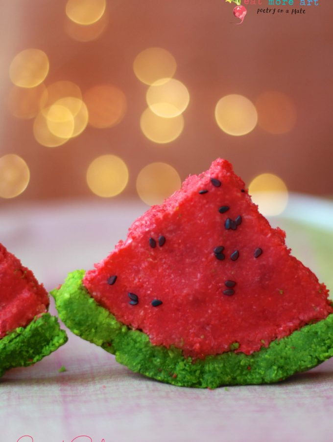 Coconut Burfi dressed like Watermelon | Coconut Fudge
