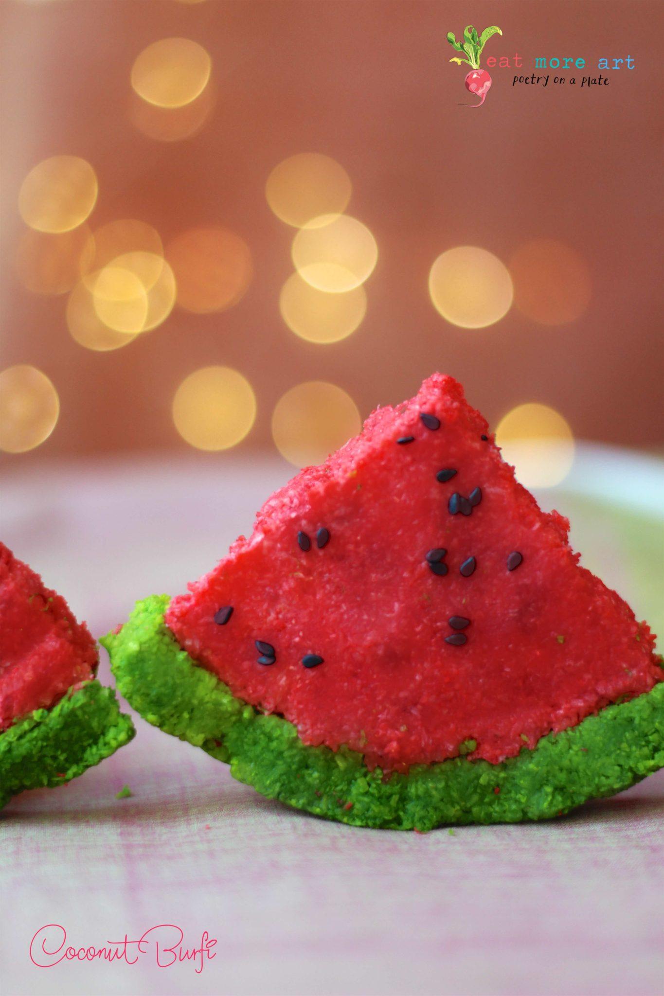Coconut Burfi dressed like Watermelon | Coconut Fudge | Eat More Art