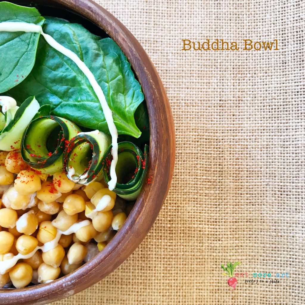 A top shot of Buddha Bowl   Spinach Chickpea salad with Tahini Dressing