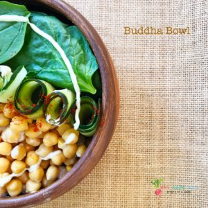A top shot of Buddha Bowl | Spinach Chickpea salad with Tahini Dressing