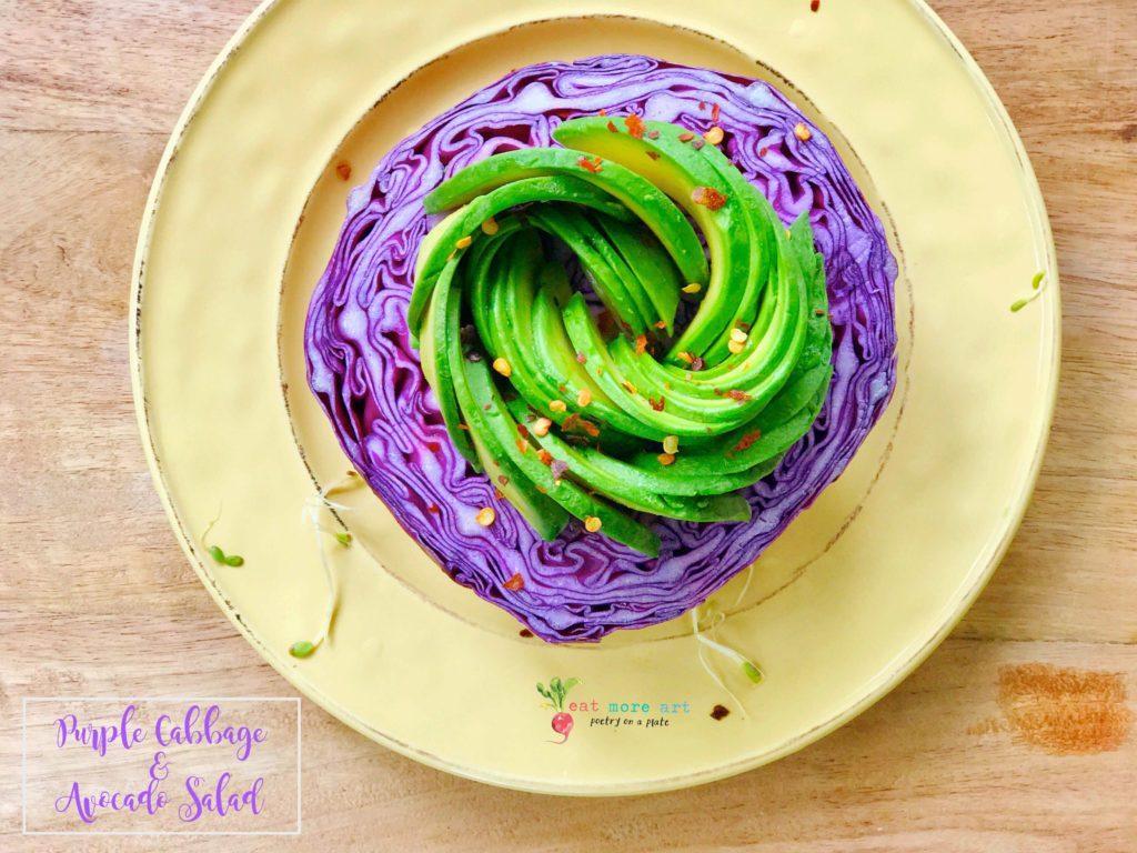 an overhead shot of purple cabbage avocado salad