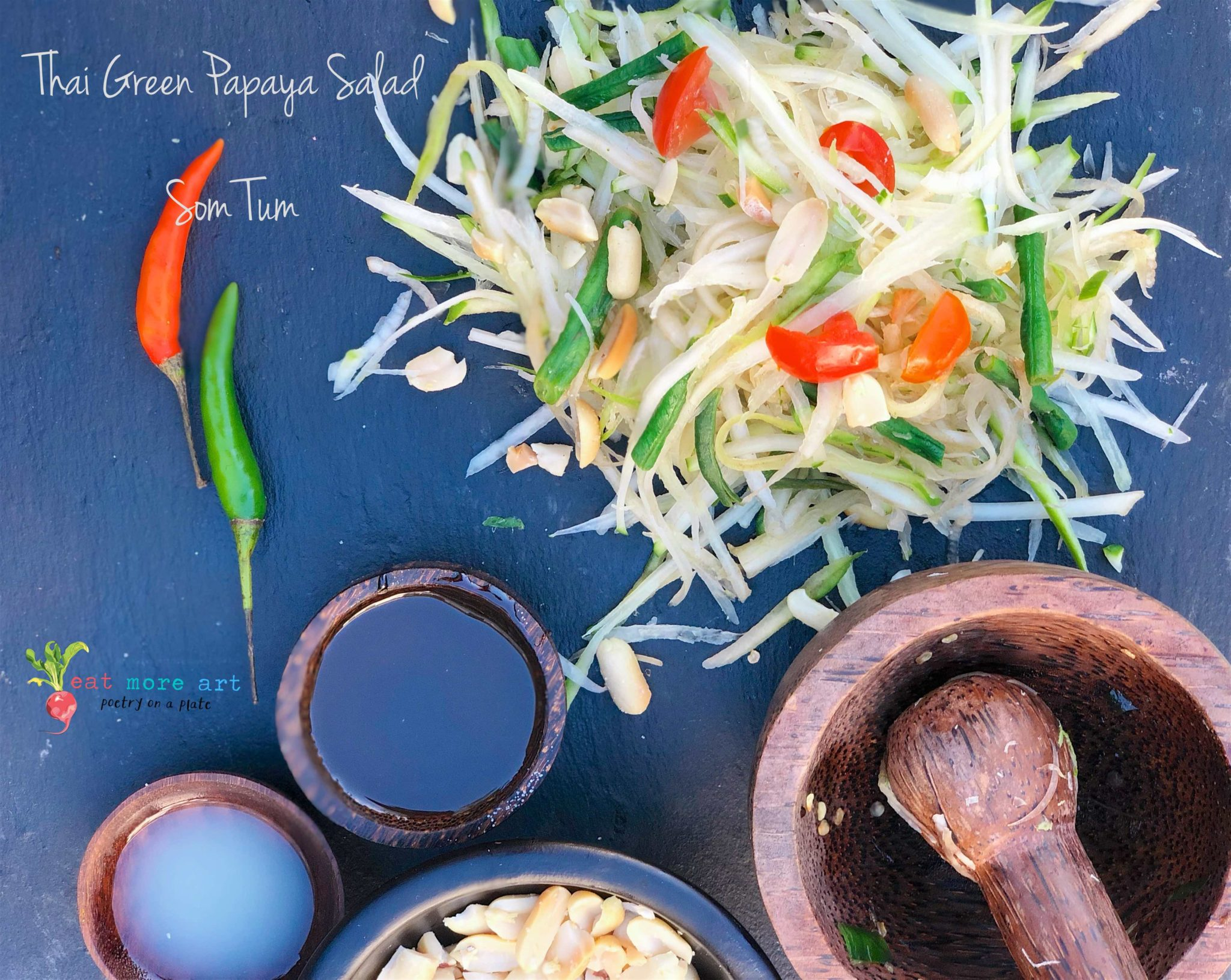 An overhead shot of Thai green papaya salad