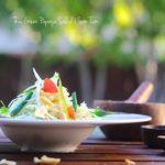 A side shot of Thai green papaya salad