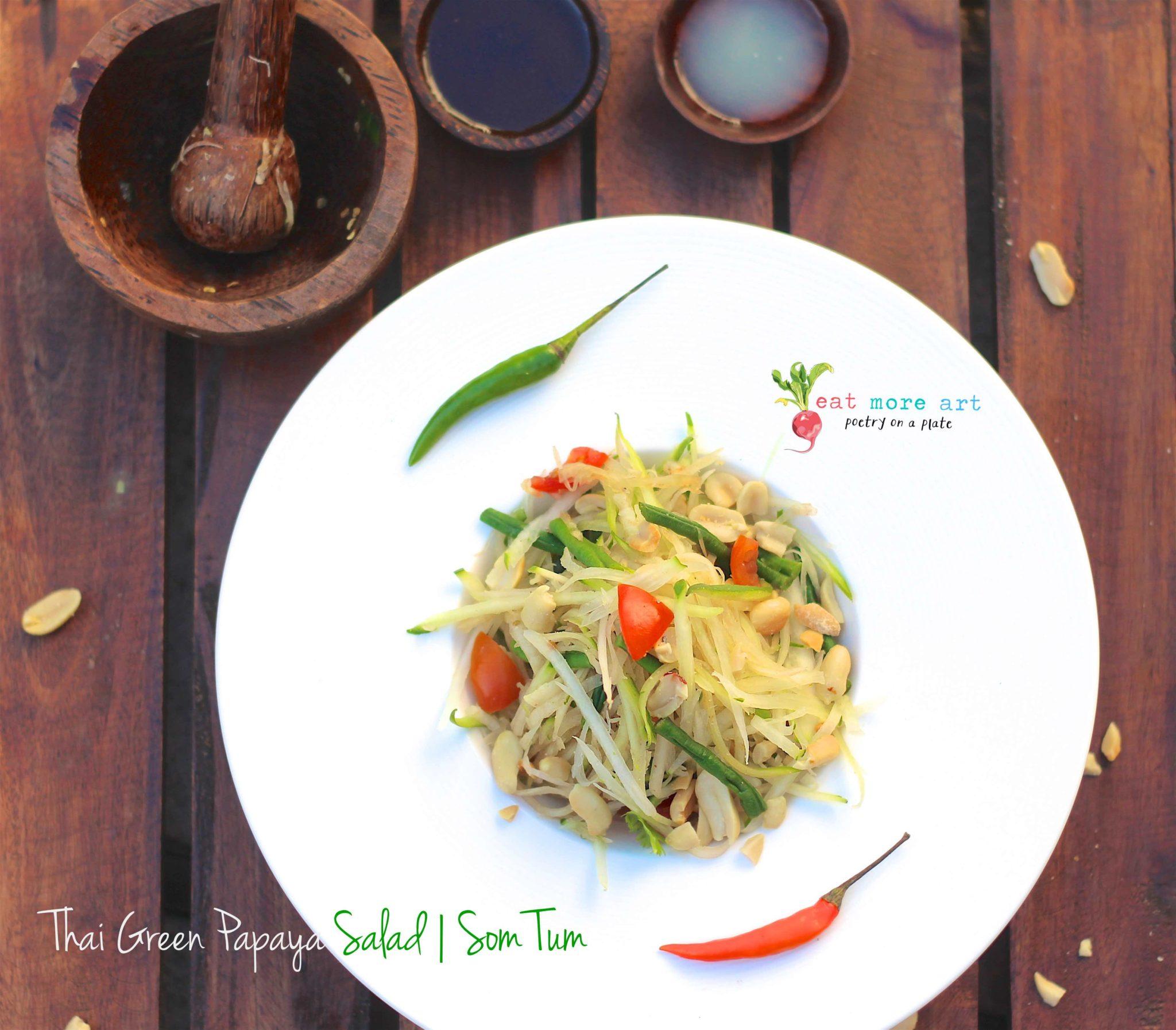 An overshead shot of Thai green papaya salad