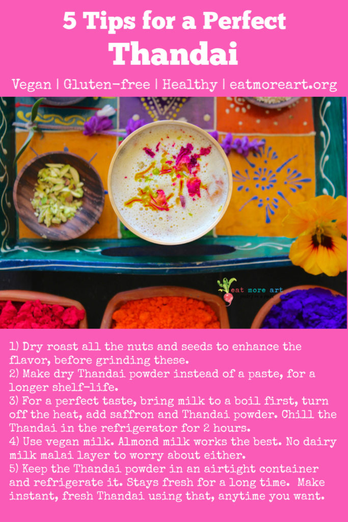 An overhead shot of colorful tray with Thandai and a list of 5 tips to make a perfect Thandai