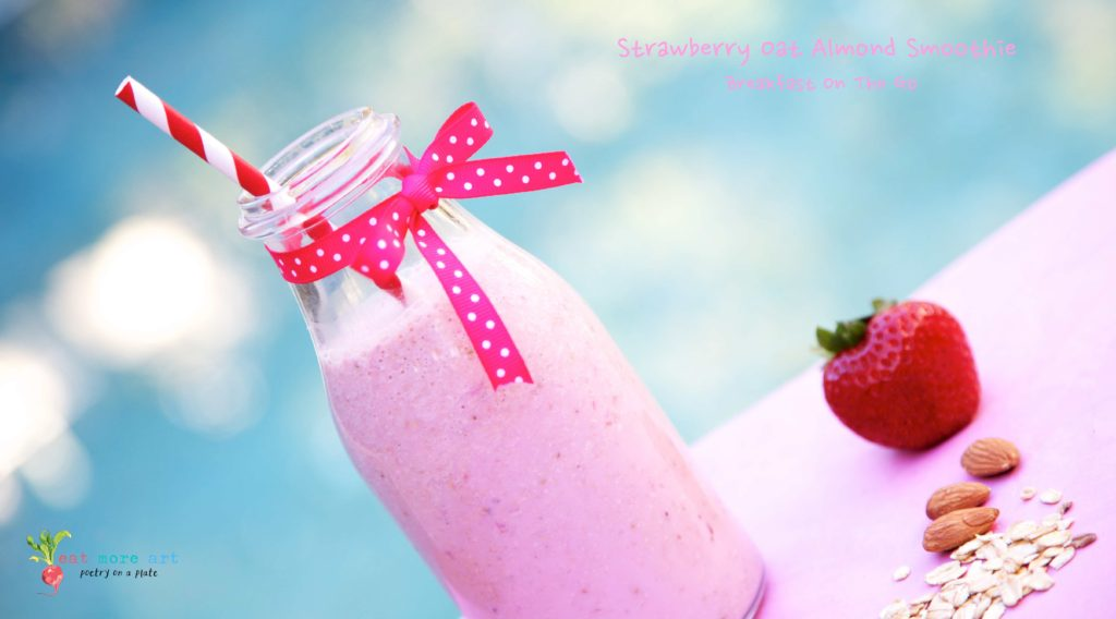 A side shot of Strawberry Oats Almond Smoothie in a bottle