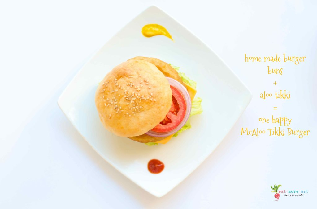 an overhead shot of veggie burger on a white background