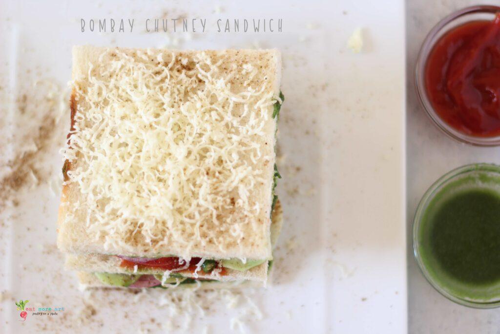 A closeup overhead shot of Bombay Chutney Sandwich