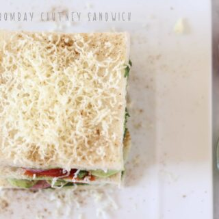 A closeup overhead shot of Bombay Chutney Sandwich