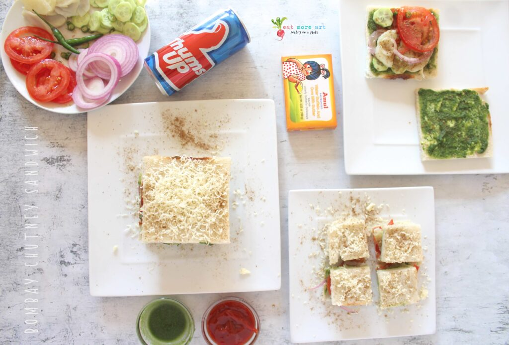 An overhead shot of Bombay Chutney Sandwich with condiments on the side