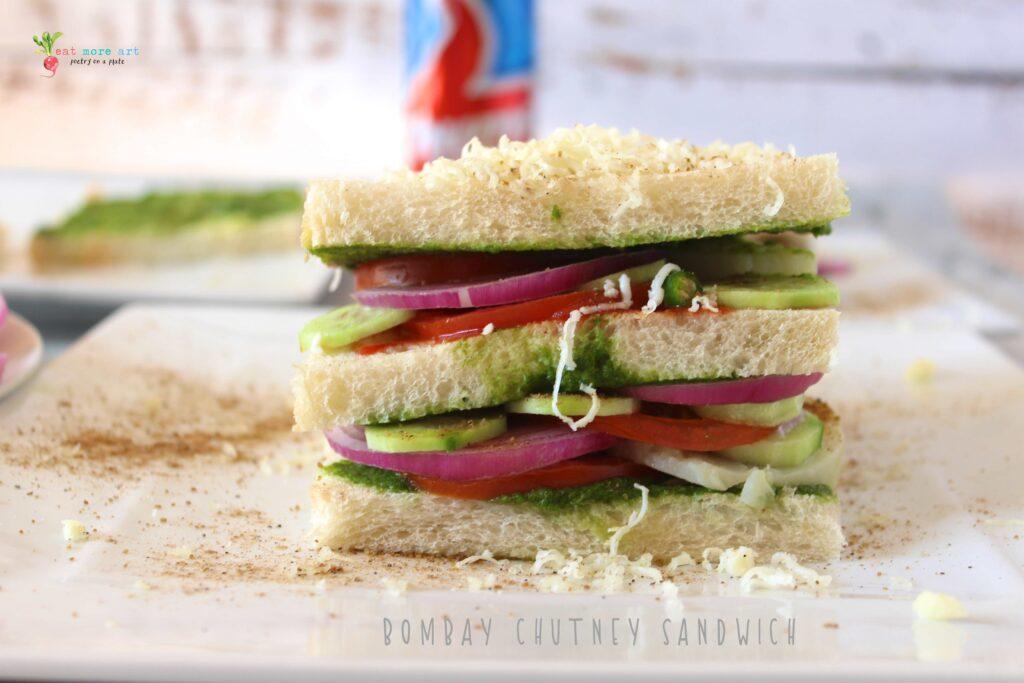 A close-up, side shot of Bombay Chutney Sandwich
