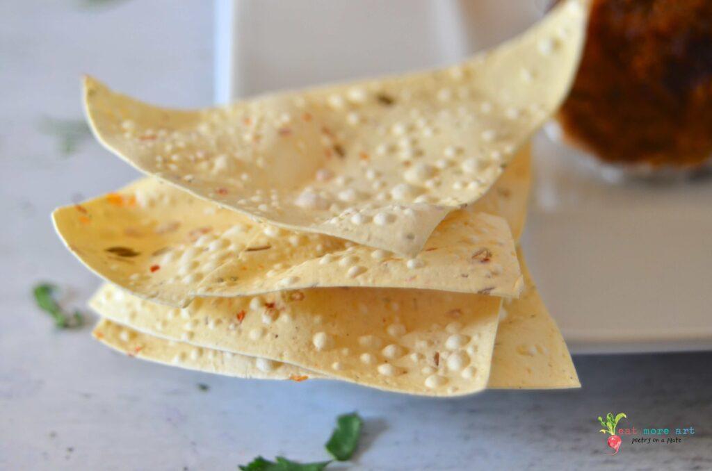 A close up shot of Papad / Indian cracker