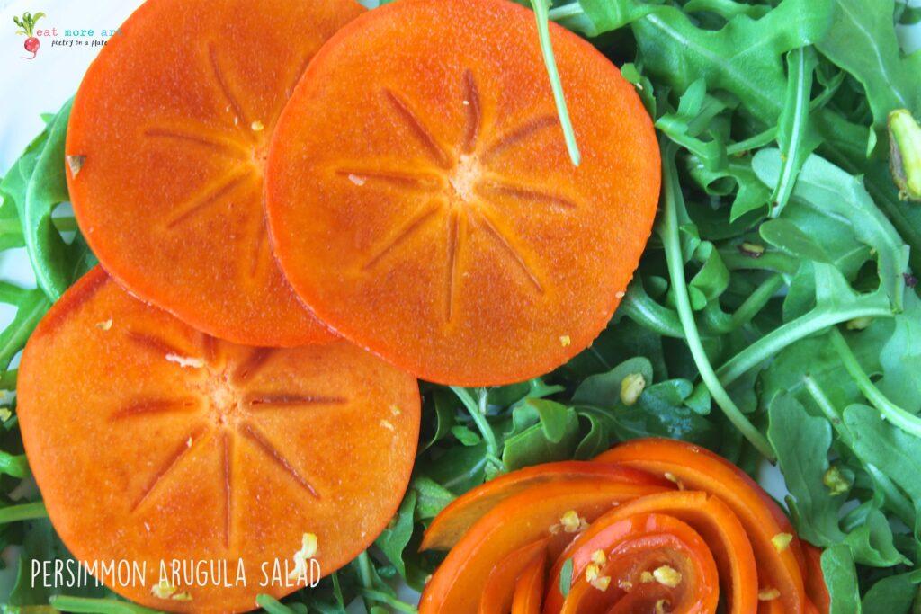 A closeup shot of Persimmon Arugula Salad