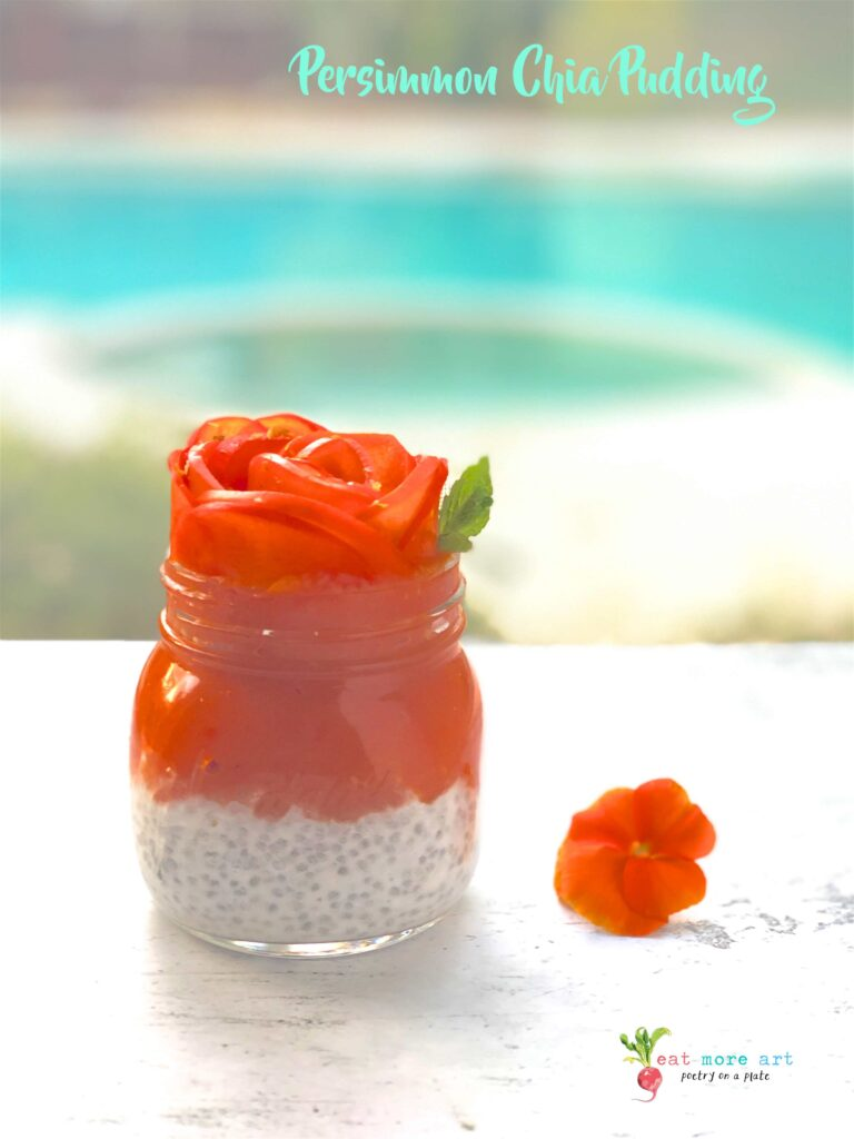 A side shot of persimmon coconut chia pudding