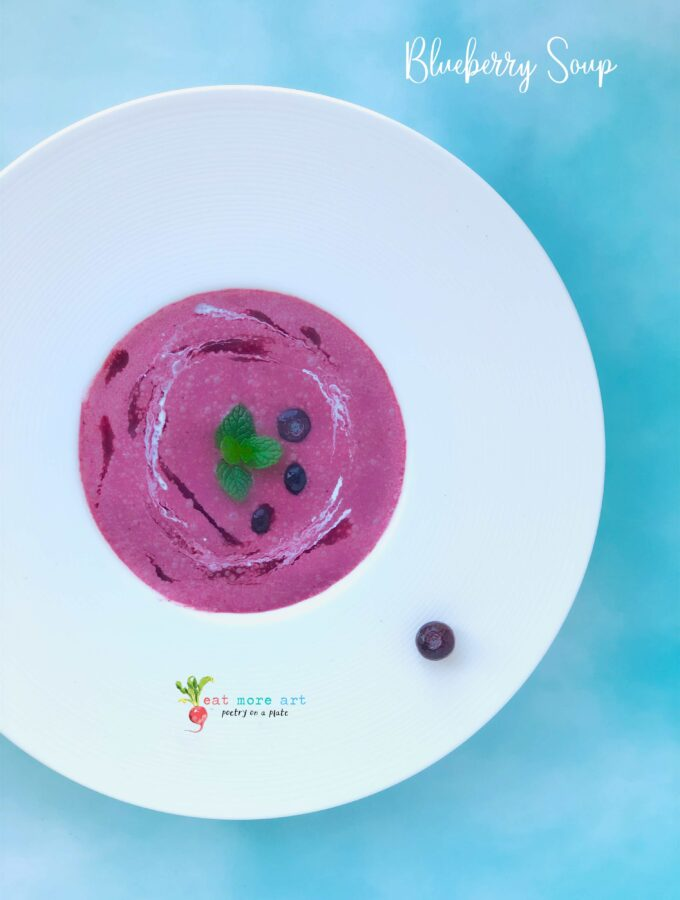 An overhead shot of chilled blueberry soup