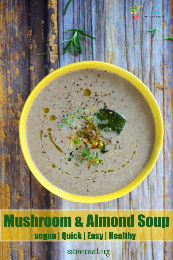 An overhead shot of mushroom soup garnished with herbs