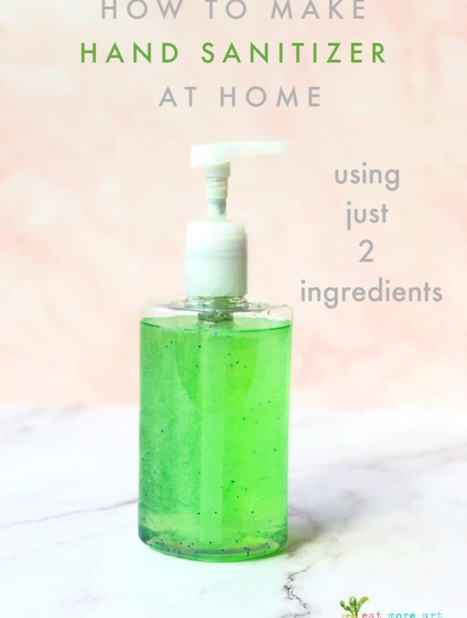 side shot of a bottle of home made hand sanitizer