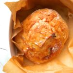 an overhead shot of freshly baked no-knead breadd