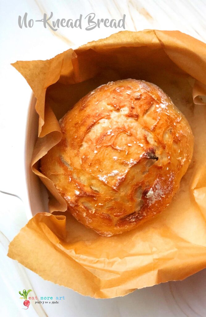 An overhead shot of freshly baked no-knead bread