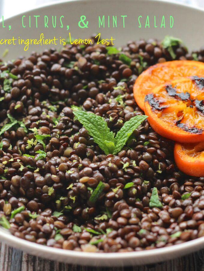A side shot of black lentil, citrus & mint salad
