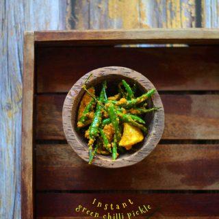 Instant Green Chilli Pickle   Hari Mirch Ka Achaar