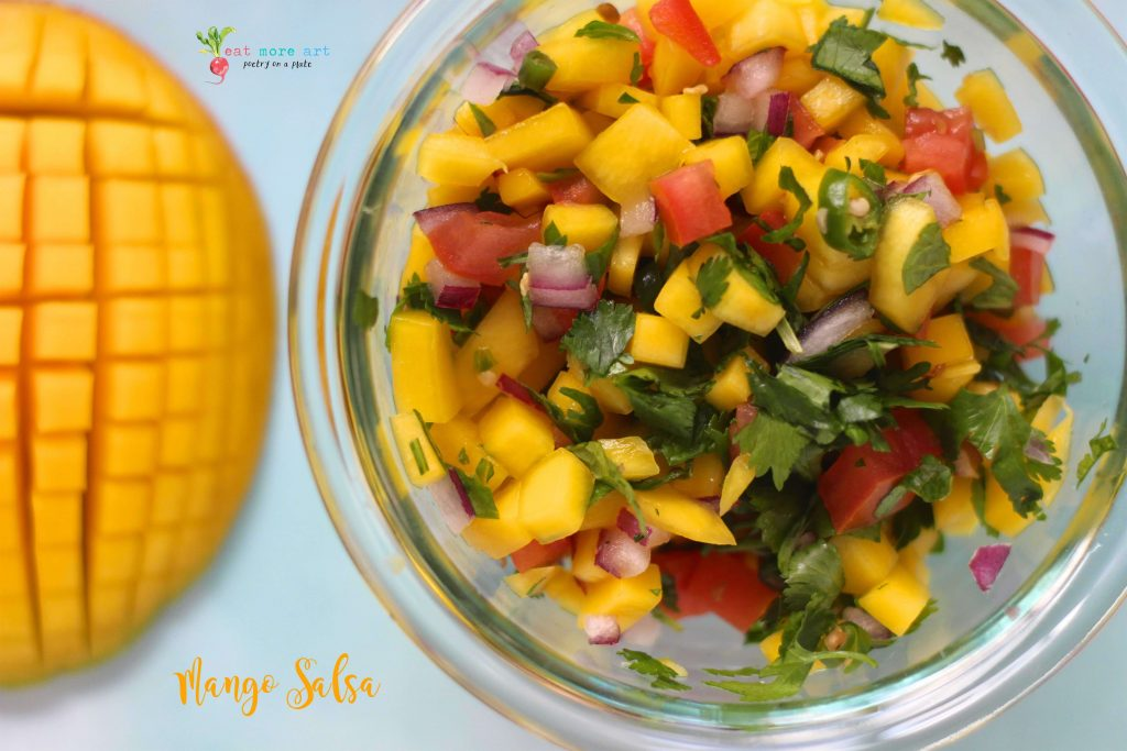 An overhead shot of mango salsa