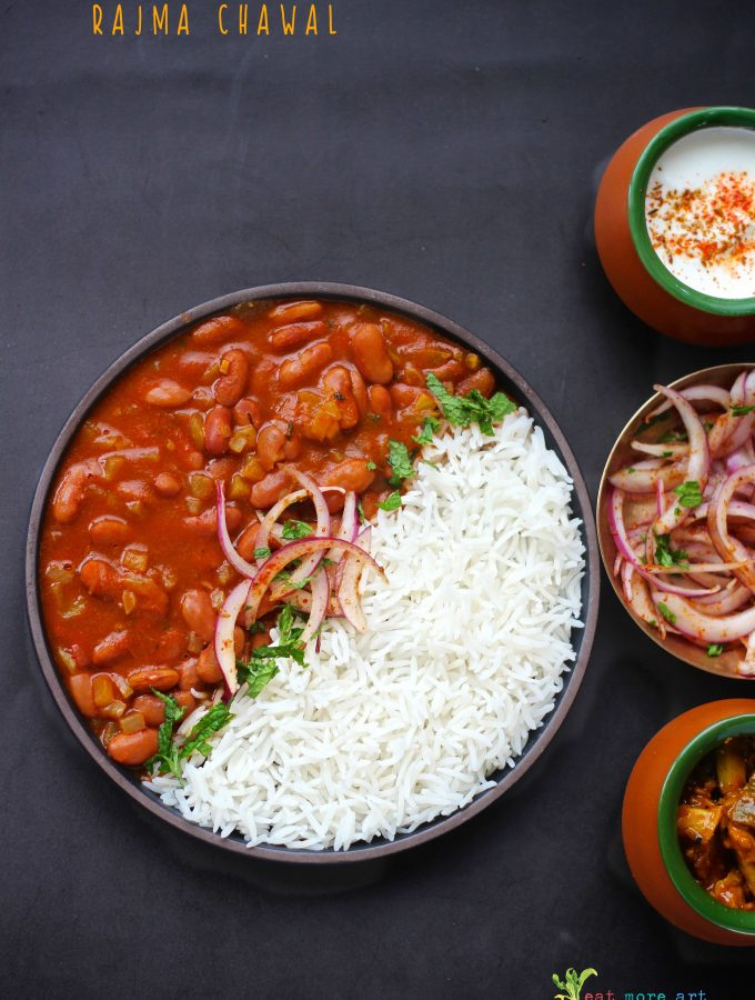 an overhead shot of rajma chawal
