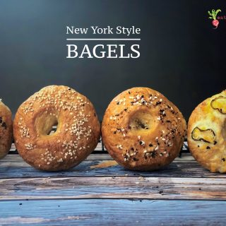 a front shot of 4 bagels