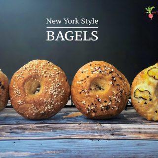a front shot of 4 bagels