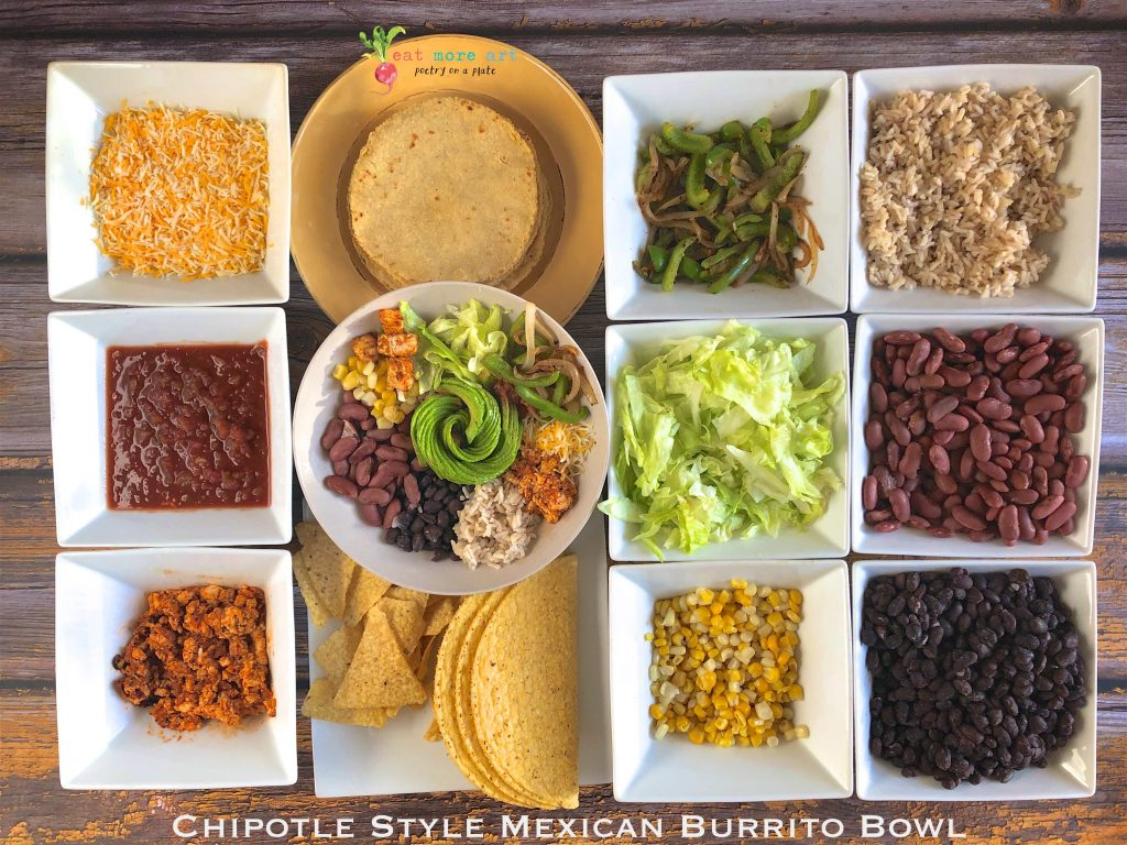 An overhead shot of chipotle style mexican burrito bowl
